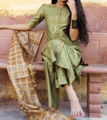 Green Silk Gota Work Salwar Kameez