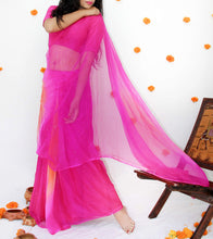 Pink Georgette Mukaish Saree With Blouse Piece