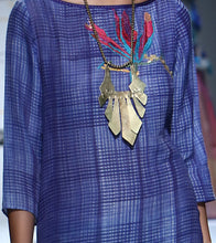 Blue Viscose Embroidered Tunic