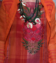 Orange Silk Embroidered Outer Jacket