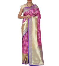 Purple Chanderi Silk Zari Work Saree With Blouse Piece