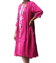 Pink Malmal Tie Dyed & Embroidered Middle Length Kurti With Jacket