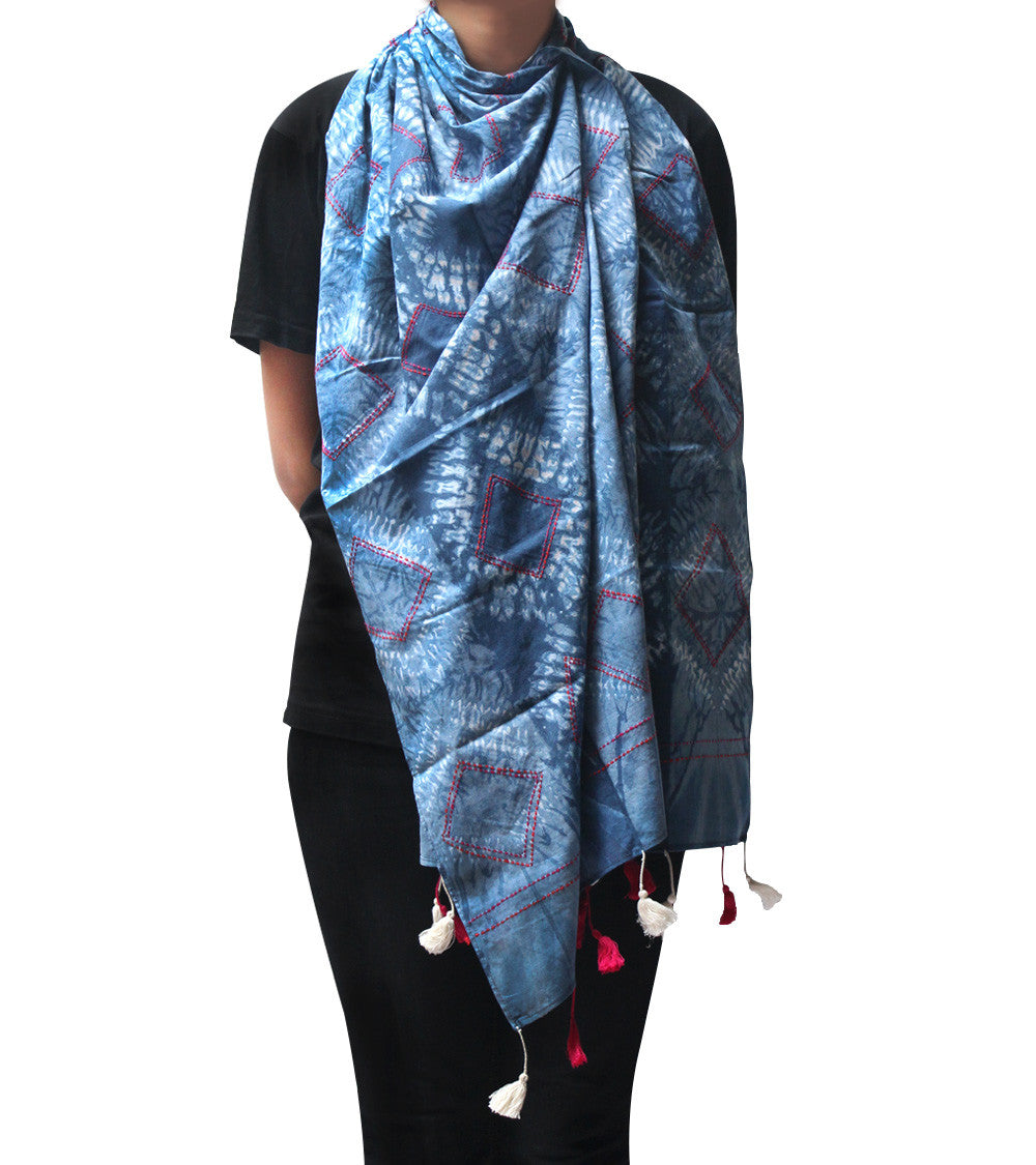 Natural Blue Malmal Tie Dyed & Embroidered Scarf