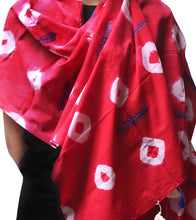 Red Malmal Tie Dyed & Embroidered Scarf