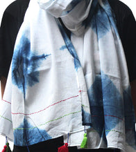 Blue Malmal Tie Dyed & Embroidered Scarf