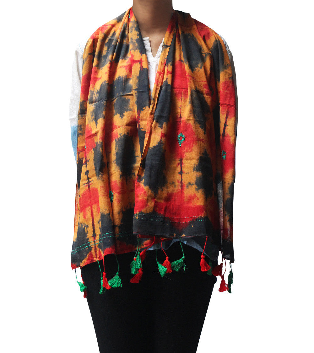 Black & Red Malmal Tie Dyed & Embroidered Scarf
