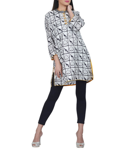 Black & White Silk Printed & Embroidered Short Kurta