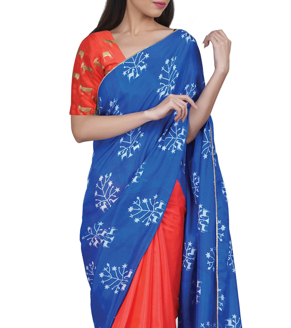 Blue & Red Silk Printed Saree With Unstitched Blouse