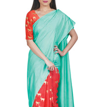 Red & Aqua Silk Printed Saree With Unstitched Blouse