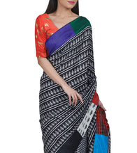 Black & White Silk Printed Saree With Patchwork Border & Unstitched Blouse