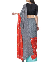 Aqua & Red Silk Printed Tree Saree With Unstitched Blouse
