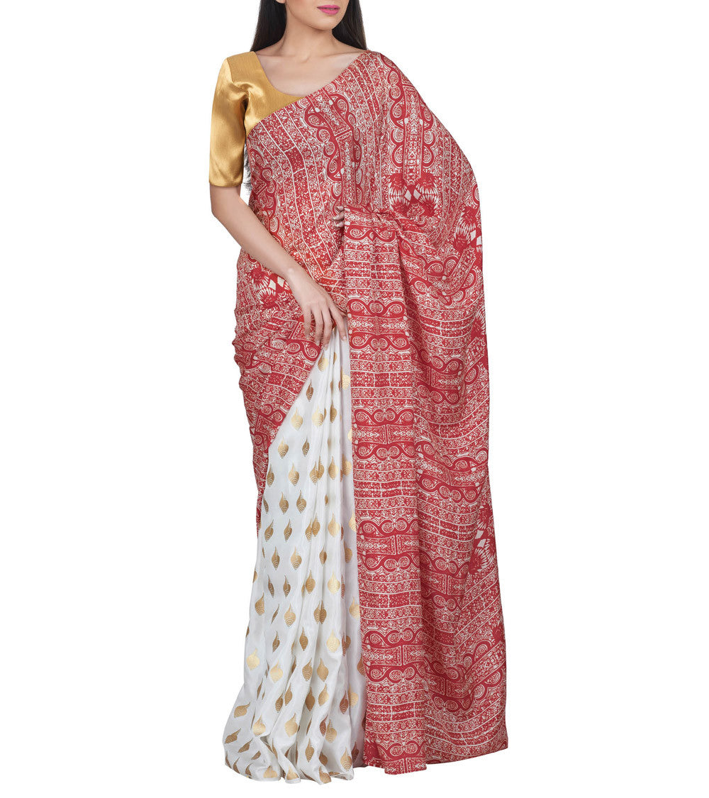 White & Red Silk Printed Grid Saree With Unstitched Blouse