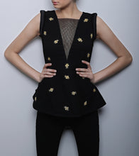 Black Georgette Embroidered Bee Peplum Top
