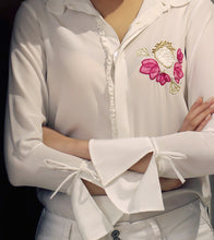 Ivory Pure Crepe Embroidered Heart Motif Shirt