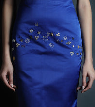 Royal Blue Satin Embroidered Pencil Skirt