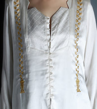 Ivory Satin Embroidered Shirt