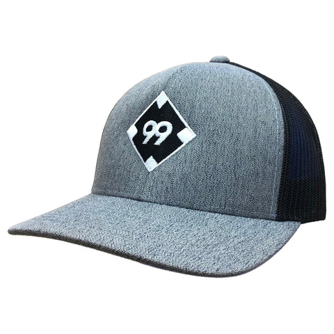 99BATS Snapback Baseball Hat - 110C (Black/Heathered/Diamond)