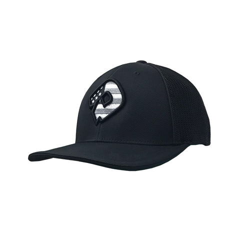 DeMarini USA Flexfit Hat (DeMarini D) - Black/Charcoal