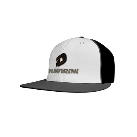 DeMarini D Flexfit Baseball Hat (Flat Bill) - White/Charcoal/Black