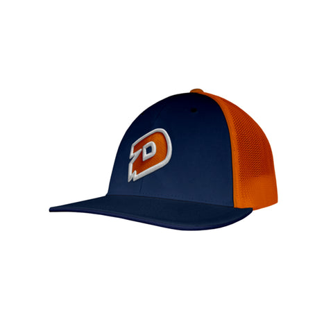 c14cb40eb6a7a DeMarini D Flexfit Hat - Navy Orange – 99BATS.com