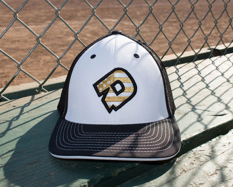 DeMarini D Flexfit Hat - White/Black/Gold
