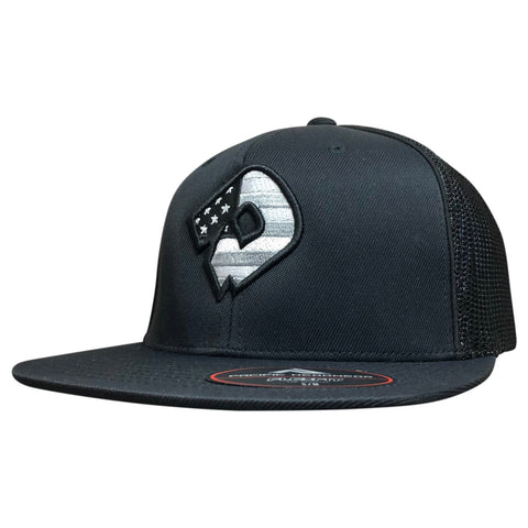 DeMarini D USA Flexfit Flat Bill Hat - Black/Charcoal