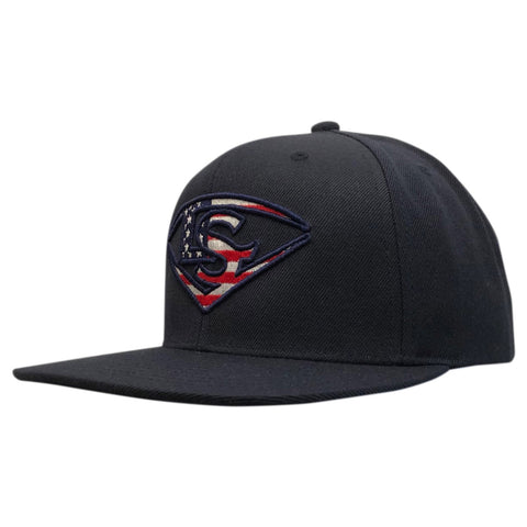 Louisville Slugger Snapback Flat Bill Hat - Navy/USA