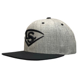 Louisville Slugger Snapback Flat Bill Hat - Heathered/Black