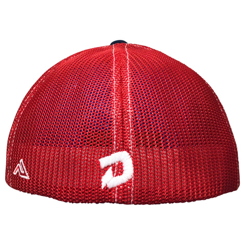 DeMarini Stacked D Flexfit Hat - White/Navy/Red