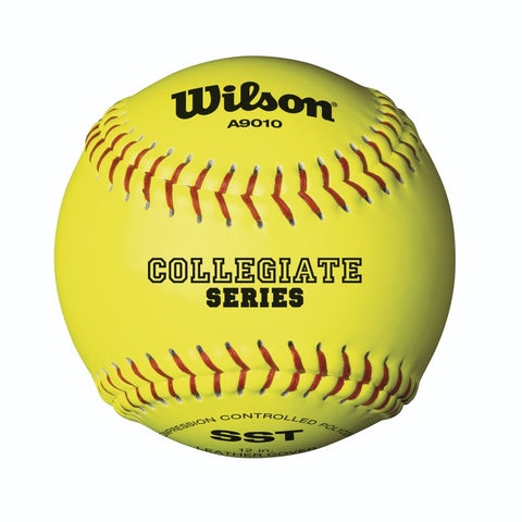 1 Dozen - Wilson A9010 Collegiate Series Leather Softballs - WTA9010BSST