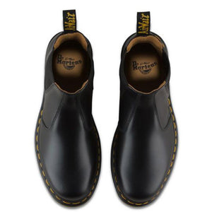 Dr Martens 2976 Boot - Yellow Stitch Smooth Black Leather | Pavement