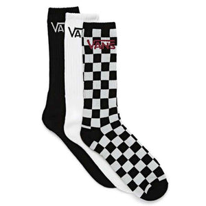 Vans Classic Crew Socks 3 Pack- Black/Checkerboard | Pavement