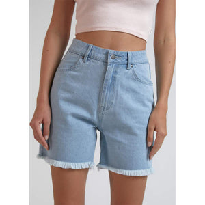 Afends Shelby Hemp Denim Cut Off Shorts - Stone Blue | Pavement
