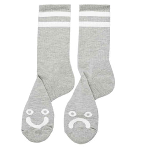 Polar Happy Sad Socks - Heather Grey | Pavement