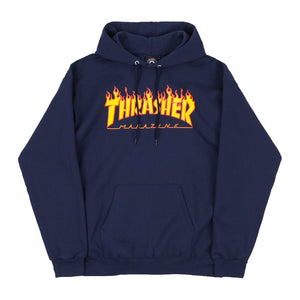 Thrasher Flame Logo Hoody - Navy | Pavement
