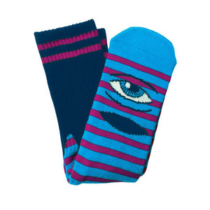 Toy Machine Sect Eye Stripe Socks - Navy/Purple | Pavement