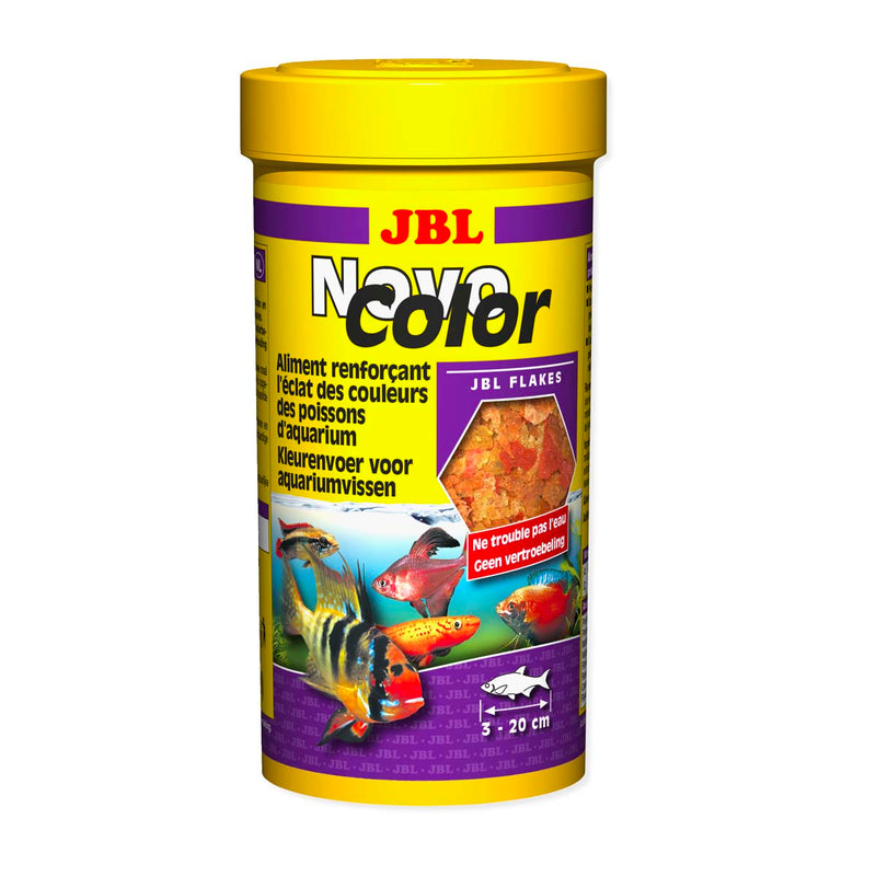 JBL NOVOCOLOR 45G 250ML - Aliment de base en flocons pour poissons d'aquarium coloré.