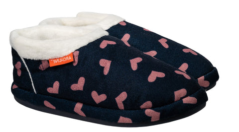 Archline ORTHOTIC SLIPPERS CLOSED Navy with Pink Hearts