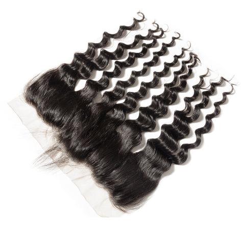Frontal Lace Closure Loose Wave 13x4 Baby Hairs Preplucked Natural Color, #2, #4