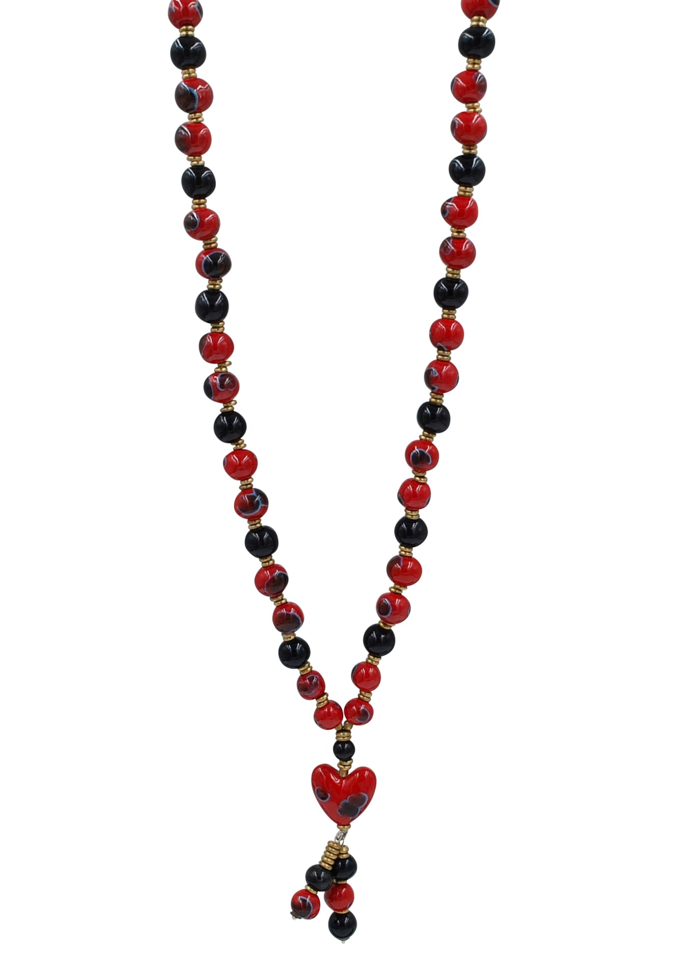 Long Heart Red Crystal Tassel with Ebony and Red Necklace