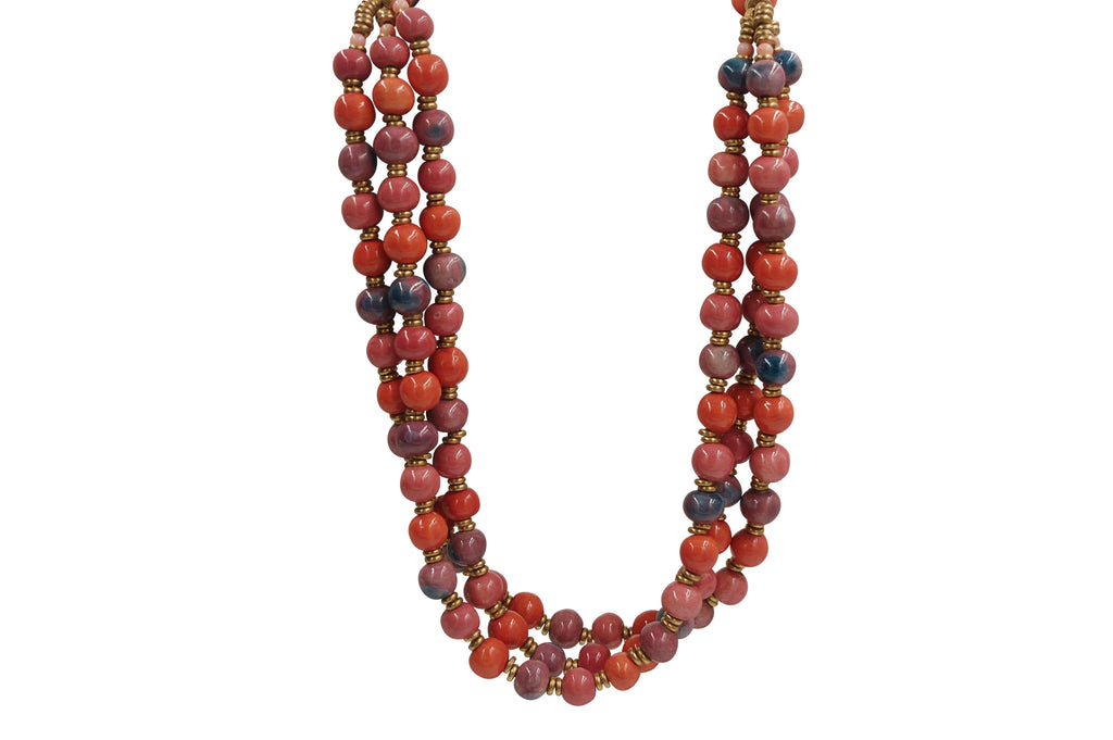 Triple Strand ~ Mandarin~Shades of Pink~a touch of Crystal Blue
