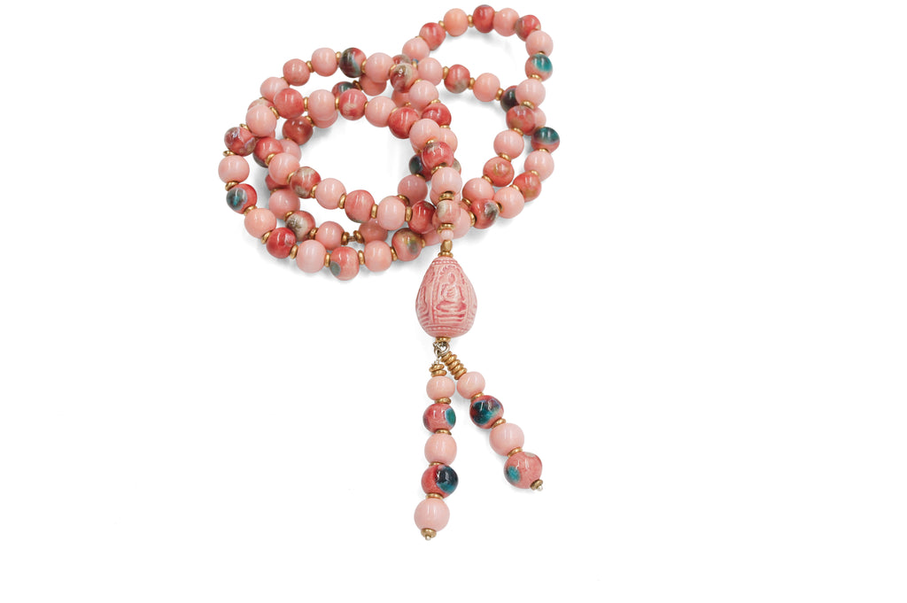 Teardrop Buddha ~ Pink with Crystal Raspberry Necklace