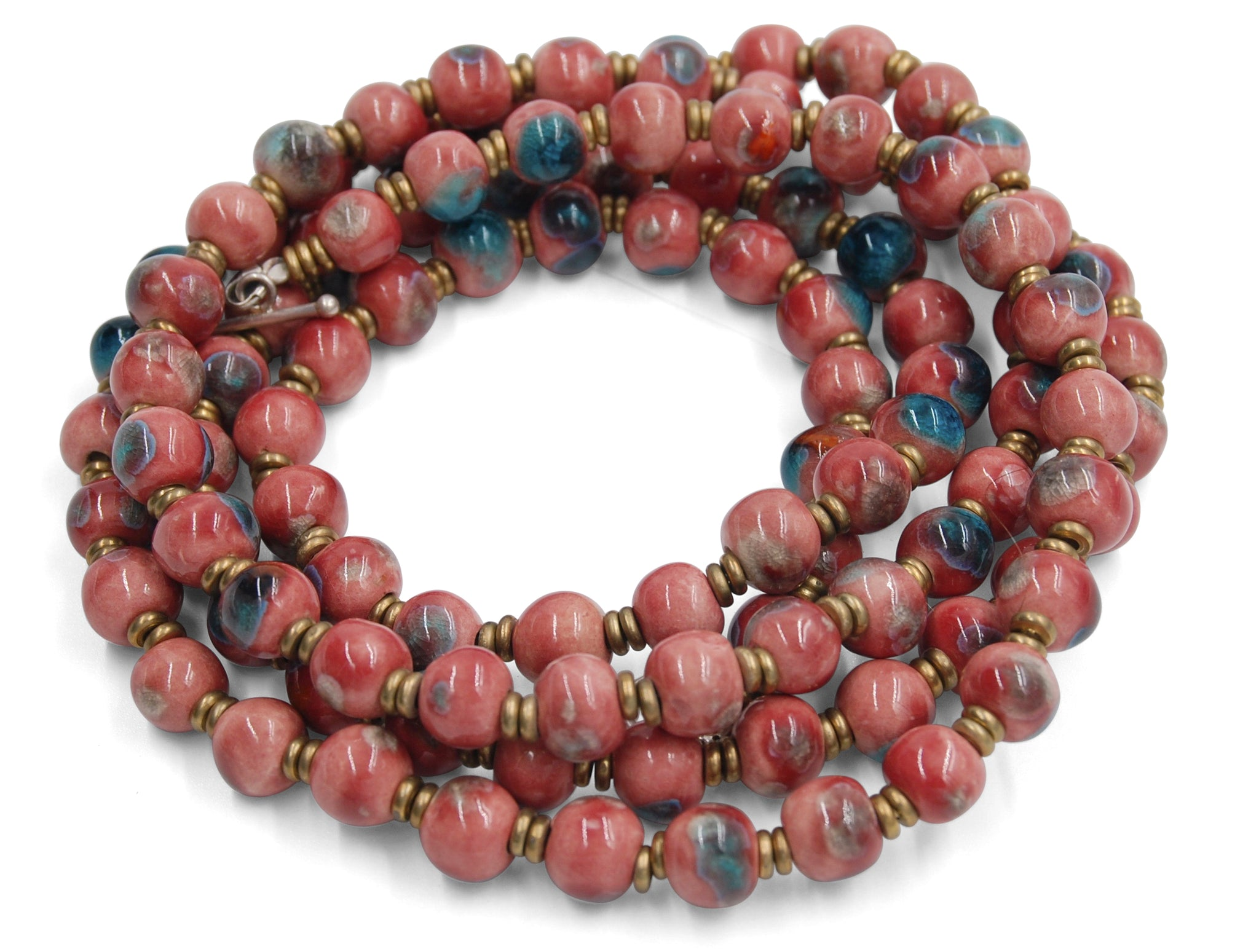 Mala in Raspberry Pink ~ Crystal Splash of Blue