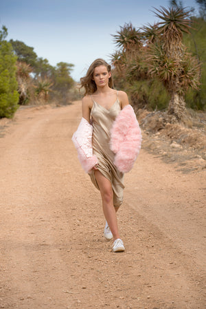 BABY PINK FEATHER JACKET