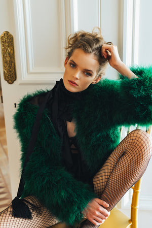 EMERALD GREEN FEATHER JACKET