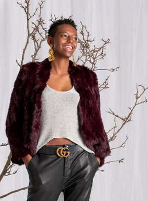 BURGANDY FUR JACKET