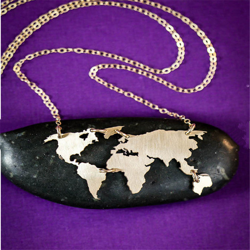 World map travel necklace premium product solutions world map travel necklace gumiabroncs Image collections