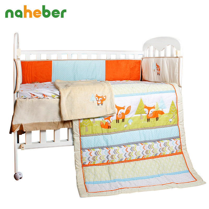 c185a425f58 8Pcs Baby Bedding Set Newborn Infant Cotton Crib Bedding Cartoon Fox  Bumpers Quilt Fitted