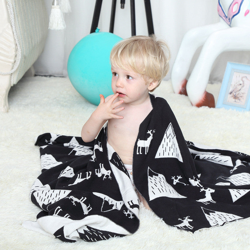 Baby Blanket 100% Cotton 75*100cm Black White Cute Knitted Blanket For Bed Sofa Kids Bath Towel Play Mat For Tent Gift