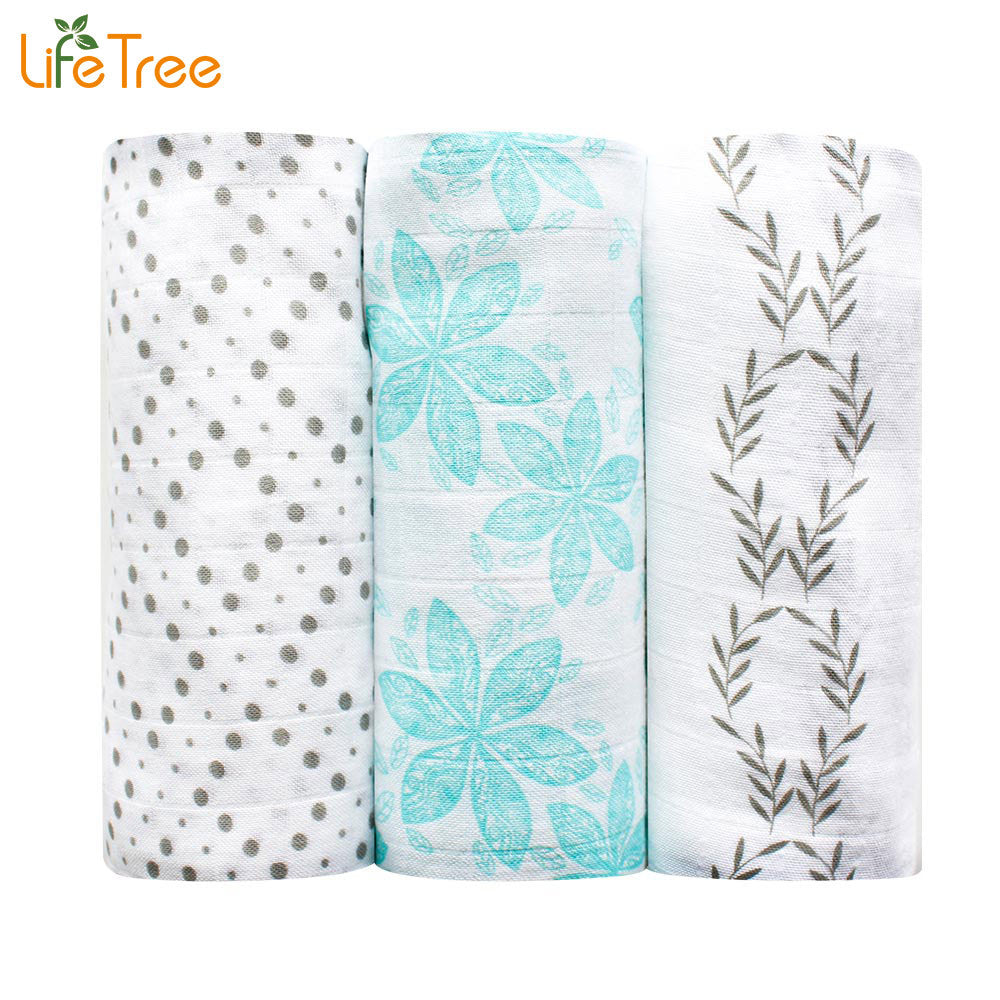 3Pcs Set Bamboo Muslin Cotton Baby Swaddles Blankets Multi-use Newborn Infant Bath Towel Soft Hold Wraps